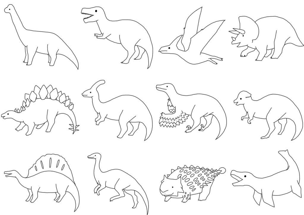 恐竜塗り絵 dinosaurs